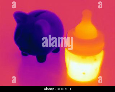 Thermal photograph of a piggy bank and of a baby bottle full of milk, high cost of raising children - Stock Photo