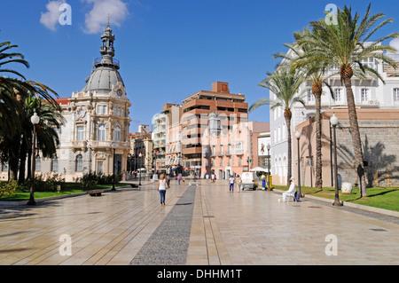 Town Hall, Town Hall Square, Museo del Teatro Romano, the Roman Theatre Museum, Cartagena, Murcia Region, Spain - Stock Photo