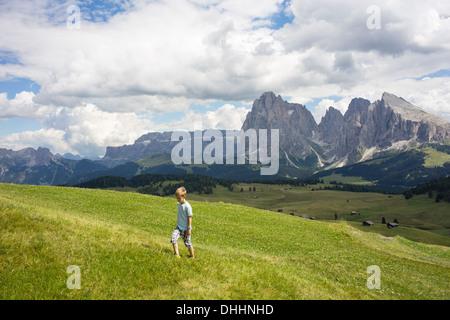 Boy walking up hill, Alto Alige, South Tyrol, Italy - Stock Photo