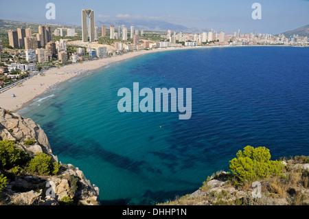 Playa de Poniente beach, Benidorm, Province of Alicante, Spain - Stock Photo