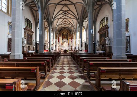 Nave, collegiate parish church of St. Philipp and Jakob, late Gothic hall church, Altötting, Upper Bavaria, Bavaria, - Stock Photo