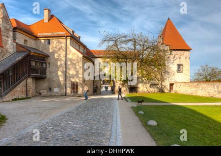 Part of the castle complex, Burg zu Burghausen Castle, Burghausen, Upper Bavaria, Bavaria, Germany - Stock Photo
