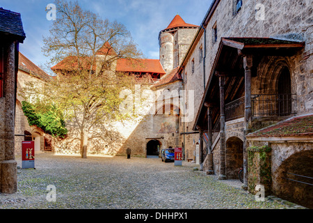 Part of the castle complex, courtyard, Burg zu Burghausen Castle, Burghausen, Upper Bavaria, Bavaria, Germany - Stock Photo
