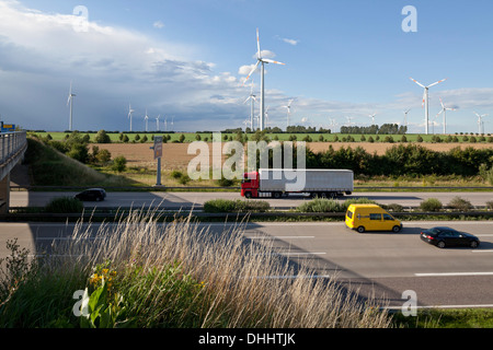 Wind turbines along the A2 Autobahn direction Berlin, Sachsen-Anhalt, Germany - Stock Photo