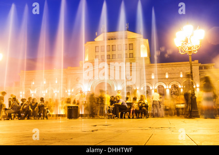 Singing Fountains. Water light and sound show in front of the National Art Gallery at the Republic Square, Yerevan, - Stock Photo