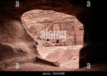 view out of cave tomb at Royal Tombs in Petra, UNESCO world herritage, Wadi Musa, Jordan, Middle East, Asia - Stock Photo