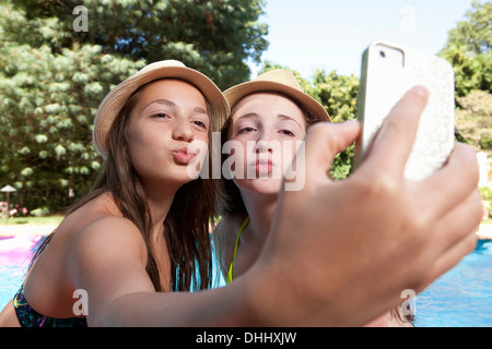 Friends self photographing with mobile phone - Stock Photo