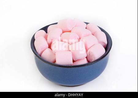 Marshmallows in bowl on white background - Stock Photo