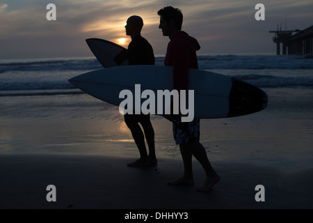 Surfers silhouetted on beach