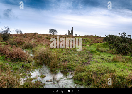 The ruins of an old tin mining engline house on at Minions on Bodmin Moorin Cornwall - Stock Photo