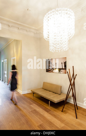 Floor with oak floorboards in an old building flat, Hamburg, Germany - Stock Photo