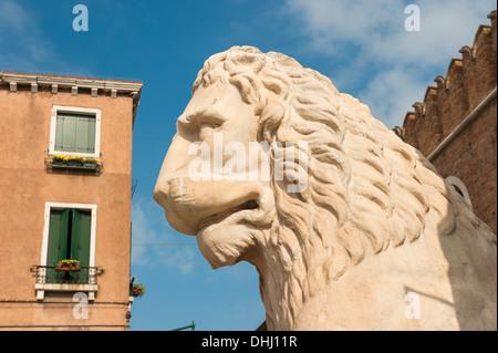 Lion at the Venetian Arsenal, Venice, Italy - Stock Photo