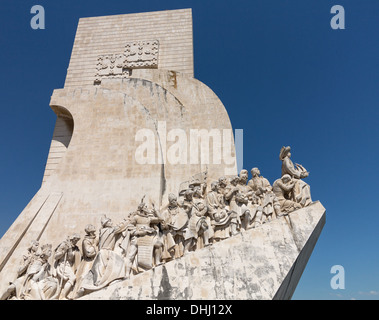 Padrao dos Descobrimentos or Monument to the Discoveries statue and memorial in Belem near Lisbon, Portugal. - Stock Photo