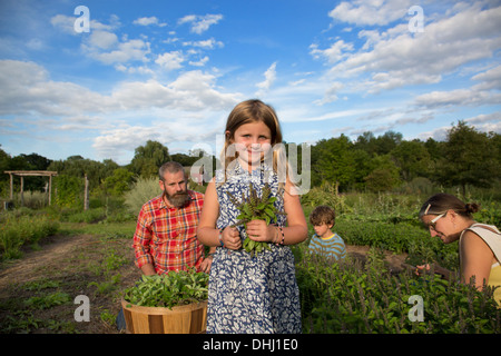 Portrait of girl holding bunch of leaves on family herb farm - Stock Photo