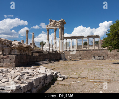 Pergamon - the ruined old Greek city and temple at Aeolis, Turkey - Stock Photo