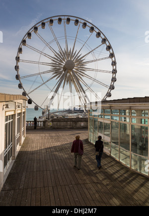 Brighton Wheel, Brighton seafront, Sussex, UK in the late afternoon light - Stock Photo