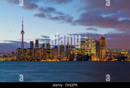 Toronto skyline across Lake Ontario, Canada at night
