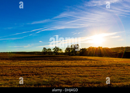 Fields in Kent England in Late Summer with blue sky - Stock Photo