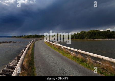 Causeway to Inishmicatreer Island in Lough Corrib, County Galway/Mayo Border, Ireland - Stock Photo