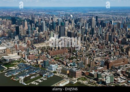 aerial photograph midtown Manhattan skyline, New York City - Stock Photo