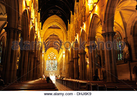 Interior view of the St. Mary's Cathedral, main church in neo-Gothic Style, Sydney City, Sydney, New South Wales, - Stock Photo
