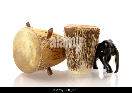 Carved elephant and African drum congo bonga - Stock Photo