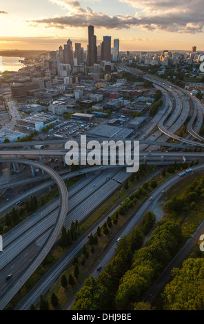 SEATTLE - JUNE 11 2013: Aerial photograph of City Skyline and freeway road system, June 11, 2013 in Seattle, Washington, - Stock Photo