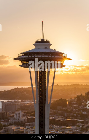 Aerial view of the Space Needle & Seattle skyline sunset on June 11, 2013, Seattle, Washington State USA - Stock Photo