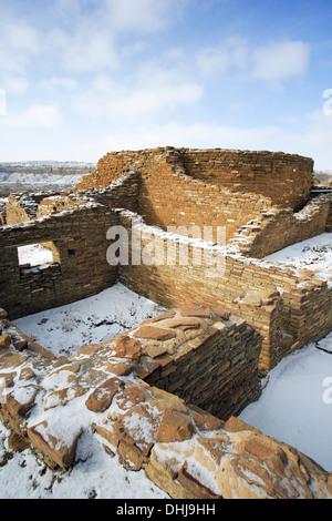 Chetro Ketl great house under snow, Chaco Culture National Historical Park, New Mexico USA - Stock Photo
