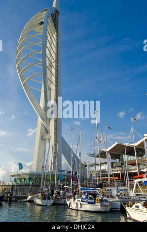 Portsmouth Hampshire England UK Spinnaker Tower and Gun Wharf Quays marina - Stock Photo
