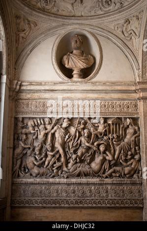 Sculptures in the staircase of the Italian Centre for American Studies - Centro Italiano Studio Americani, Rome - Stock Photo