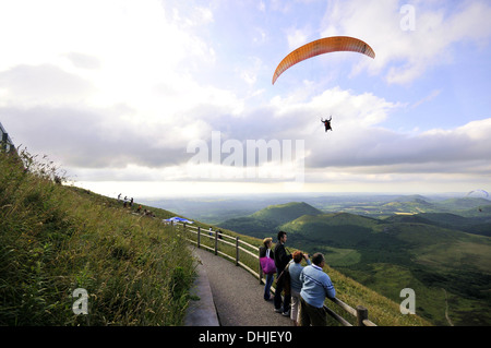 View from Puy de Dome volcano, Auvergne, France, Europe - Stock Photo