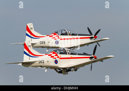'Wings of storm' (Krila oluje), two Croatian air force aerobatic team aircraft on take off - Stock Photo