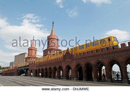 Germany, Berlin, Oberbaum bridge with metro - Stock Photo