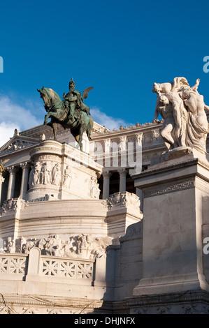 Equestrian statue, Vittorio Emanuele II Monument, Rome, Italy - Stock Photo