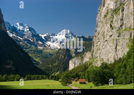 Sunlit meadow at Lauterbrunnen Valley, canton of Bern, Switzerland, Europe - Stock Photo