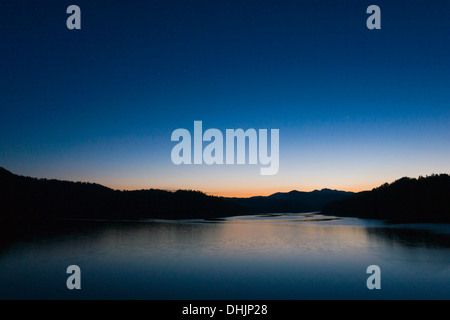 Lokve lake in Gorski Kotar, Croatia, nightscape - Stock Photo