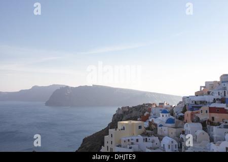 Oia on Santorini island in the Cyclades (Greece) - Stock Photo