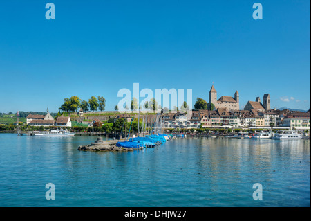 View of castle, old town and harbour, Rapperswil, Lake Zurich, St. Gallen, Switzerland, Europe - Stock Photo