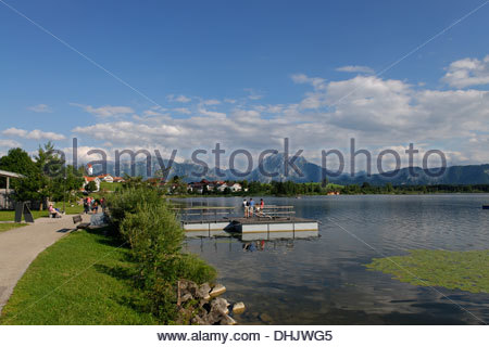 Germany, Bavaria, Swabia, East Allgaeu, Hopfen am See near Fuessen - Stock Photo