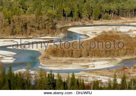 Germany, Bavaria, Pupplinger Au, view from Schlederloh to river Isar - Stock Photo