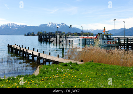 Germany, Bavaria, Upper Bavaria, Chiemgau, Gstadt, from the shore to the Fraueninsel - Stock Photo
