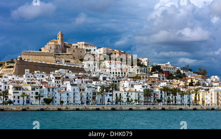 Europe, Spain, Balearic islands, Eivissa (Ibiza), view from the sea of the old town (Dalt Vila) - Stock Photo