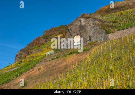 Solar clock in a vineyard near Neumagen, Moselle, Rhineland-Palatine, Germany - Stock Photo