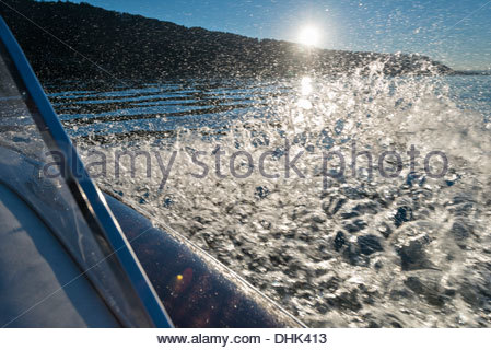 Germany, Baden-Wurttenberg, Wallhausen, Detail of wooden motorboat on Lake Constance - Stock Photo