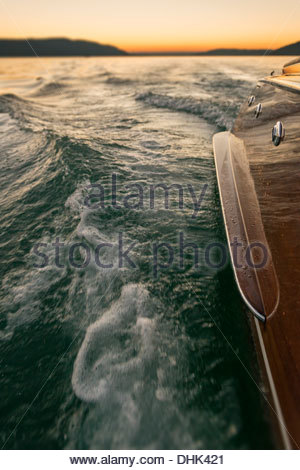 Germany, Baden-Wurttenberg, Lake Constance, Part of wooden motorboat on lake - Stock Photo