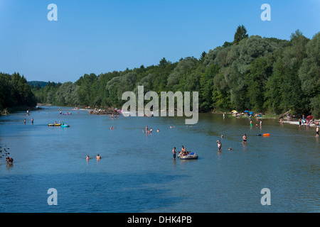 Germany, Bavaria, Isartal, river Isar, bathing people - Stock Photo