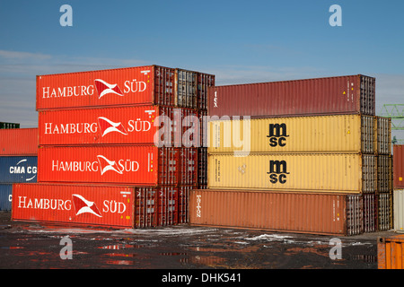 Germany, North Rhine-Westphalia, Dortmund, container at harbour - Stock Photo