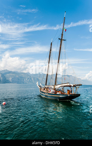 Sailing ship on Lake Garda near Malcesine, Lago di Garda, Province of Verona, Northern Italy, Italy - Stock Photo