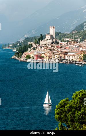 View to lake Garda and Malcesine, Lago di Garda, Province of Verona, Northern Italy, Italy - Stock Photo